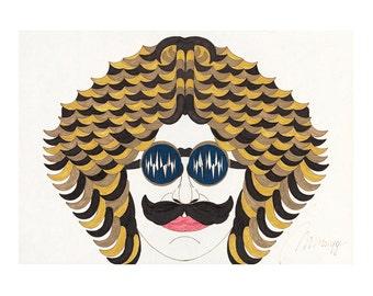 John, Retro, Vintage style, 60s, 80s, Beatles, Yellow submarine, moustache, stencil, Gicleé print, Drawing, Geometric shapes, Illustration