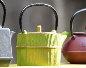 tea pots, outdoor market, Granada Spain, kitchen wall art, kitchen photography, kitchen home decor, three tea pots, lime green, home decor