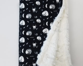 Black and White Woodland Print Minky Baby Blanket