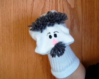 GrandFather  Man with moveable mouth  Sock Puppet grey hair