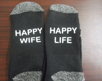 Happy wife Happy life personalized socks for men or women