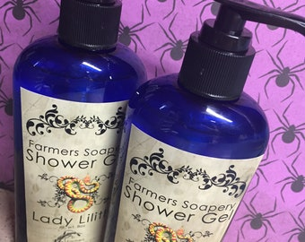 Lady Lilith Shower Gel - Liquid Soap, Body Wash, Bubble Bath - fruit, melon, sweet - 8oz - Vegan, Hypoallergenic, Cruelty-Free Soap