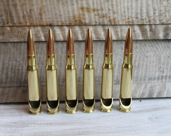 Set of 6 or 8-50 Caliber® Military Polished Brass Bullet Bottle Opener-Engravable-Drink Openers -Groomsmen Gifts