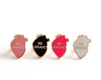 Be Brave Heart Pin Badge, Enamel Heart Pin, Black, Baby Pink, White or Neon Pink, RockCakes, uk
