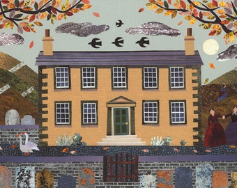 Brontë Sisters Art Print·Writers House·Autumn·Naive Art·Collage·Wall Art·Jane Eyre·Wuthering Heights·Amanda White Design·Gift For Booklovers