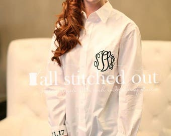 Monogrammed Bride Shirt - Getting Ready Shirt - Bridal Party Shirts - Monogrammed Maid of Honor - Monogrammed Bridesmaid Shirt