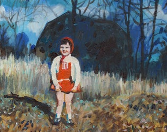 Girl in the Blue Forest- painting of a small  girl painting - acrylic ORIGINAL painting on canvas - wall art- wall decor- home decor