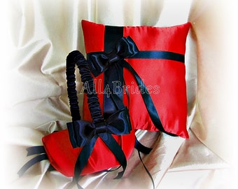 Red and black wedding ring pillow and flower girl basket, wedding ring bearer cushion and basket set.