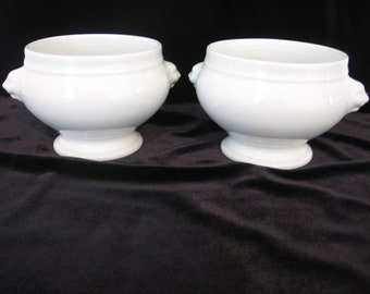 Vintage French Pair of LIMOGES Porcelaine Lion's  White French Onion Footed Soup Bowls Lions Head Handles