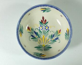 Vintage HB Quimper flower Motif Faience bowl from France - Vintage Quimper little bowl from France