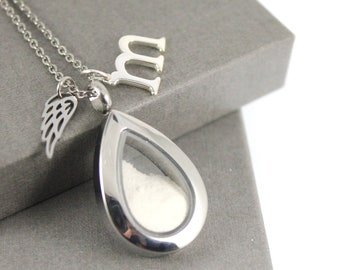 Stainless Steel Angel Wing Initial charm Teardrop Glass Memorial Locket,  Cremation Necklace, Urn Necklace , Memorial Jewellery, Ash Pendant