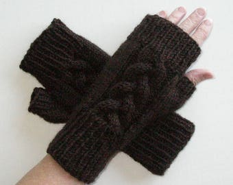Brown Fingerless Gloves / Cable Knit Gloves / Wristwarmers / Gift Idea / Acrylic Wool Blend Gloves