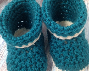 Baby Shower Booties | Handmade Crochet Baby Boots | Peacock Blue and White Roll Cuff Soft Baby Shoes Size 3 to 6 Months