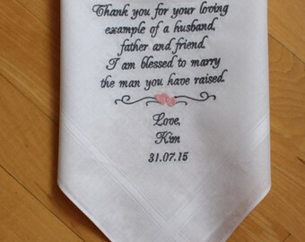 Father of the Groom handkerchief,CUSTOM, Father of the Groom Gift from the bride, Wedding Monograms. Personalized Gift, wedding favor,MSXF38