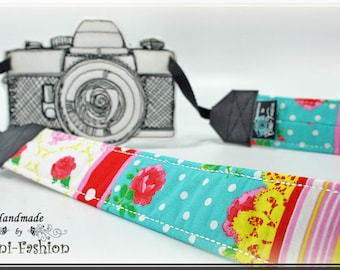 DSLR Camera strap, camerastrap, Roses, colorful