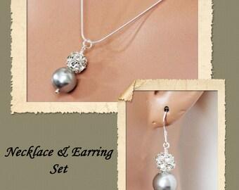 Bridal Jewelry Set, Rhinestone Wedding Earrings and Necklace Set, Wedding Jewelry Set, Bridesmaids Jewelry Set