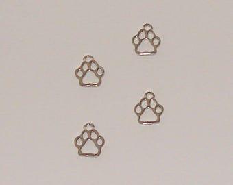 10 pendants form antique 13mm x 11mm silver bear paw