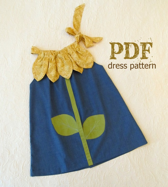 Sunny Flower Pillowcase Dress Girl Sewing Pattern PDF
