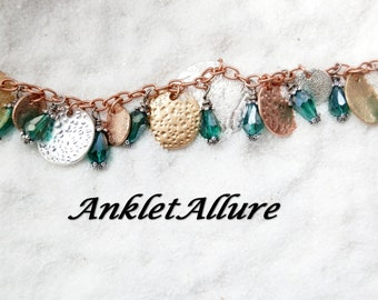 Anklet with BELLS Gypsy MIXED METAL Anklet Belly Dance Anklets for Women