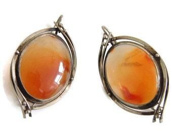 Carnelian earrings, vintage oversize translucent carnelian, silver tone metal, Virgo, Taurus, Leo, Cancer birthstone, orange chalcedony