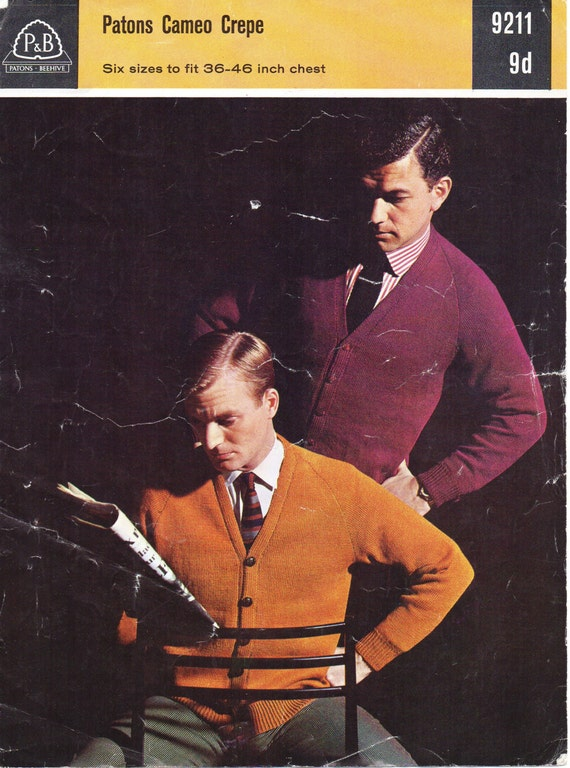 Mens Classic V Neck Cardigan Knitting Pattern Vintage 1960s
