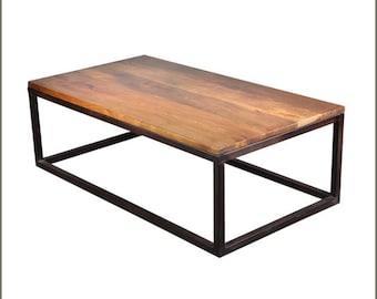 Modern Wood and Metal Coffee Table
