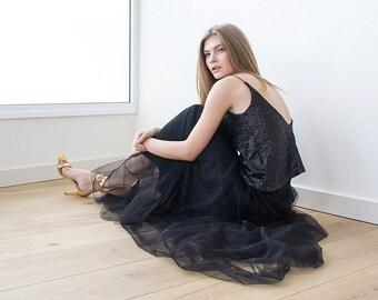 Tulle maxi black party skirt, Maxi tulle black skirt , Black maxi skirt 3005
