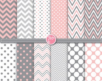"Pink Grey Polka Dot and Chevron Digital Paper Pack,""POLKA DOT and CHEVRON"" Clipart printable for Scrapbooking,Party paper,Invitations Dp076"