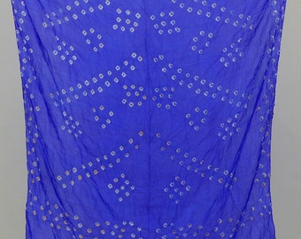 Hand-Printed Art Silk Scarf Mandala Solid Color, 41 x 41 Inches (Violet)