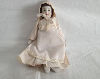 Vintage Bisque Doll in Nightgown ~ Silvestri Corp Made in Taiwan