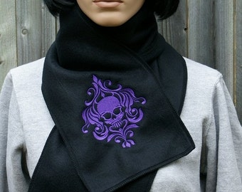 Damask Skull-- Soft Warm Fleece  Embroidered Scarf -- Choose Any Thread Color MTcoffinz