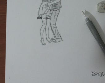 A4 Couple sketch Photocopied sketch Hug with love Love sketch Black and white pencil drawing Lovers art Passion art