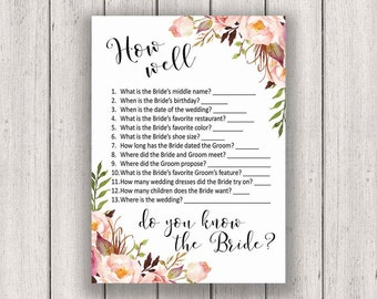 BRIDAL SHOWER GAME, How Well Do You Know the Bride, Printable Bridal Shower Game, Boho Chic Bridal Party Game, Printable Game Card, B100