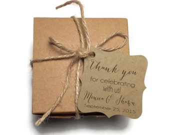 Wedding Thank You Tags - Personalized Wedding Favor Tags - Thank You For Celebrating With Us - Elegant Favor Tags - Set of 50