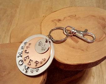 Jeep Mom hand stamped triple layer copper and aluminum jumbo keychain ... great gift idea for 4x4 Wrangler fans OIIIIIIIO