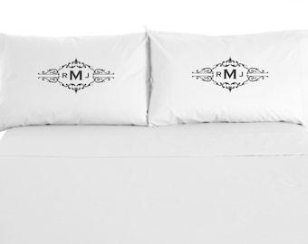Custom Monogram Pillowcases, Personalized Pillows, Love, Wedding, Set of 2