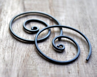 Oxidized Earrings. Black. Spiral. Oxidised. Simple. Sleek. Jewellery. Jewelry. Modern. Handmade.