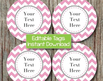 INSTANT DOWNLOAD Labels Editable Printable Tags Digital File JPG Gum Pink Grey Chevron Cupcake Toppers Favor Tags Stickers Baby Shower 005