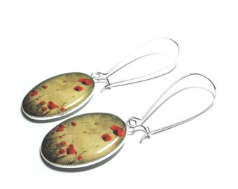 Red Poppy Flower Earrings, Poppies, Dangle Earrings, Flower Jewelry, Resin jewelry, Resin Earrings, Handmade Earrings, Handmade Jewelry