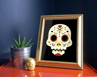 Day of the Dead Sugar Skull: Black Pirate 8x10 Art Print by Odds And Aliens