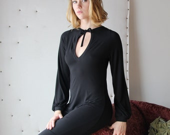 tunic night shirt or blouse with bishop sleeve and keyhole neckline - ready to ship - size small