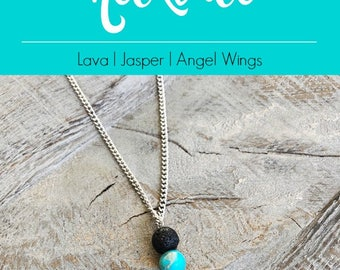 Essential Oil Jewelry Necklace, Angel Wing Necklace, Angel Wing Necklace Silver, Aromatherapy Necklace Silver, Essential Oil Necklace Lava