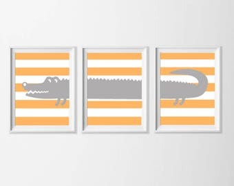 Alligator Art Instant Download, Orange Gray Nursery Art , Toddler Safari Wall Art, Nursery Boy Wall Art, Zoo Safari Bathroom, 5x7 Wall Art