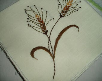 6 Vintage Hand Embroidered Linen Napkins with Brown and Golden Cattails
