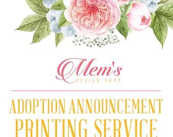 Mem's Design ShopAdoption AnnouncementPhoto Card printing service