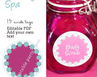 "Pacific Beaty Spa Party 1.5"" circle labels - editable PDF - add your own text"