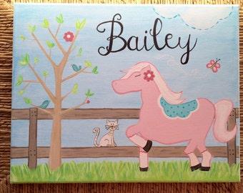 Custom Hand Painted Nursery/Girl's Room Canvas