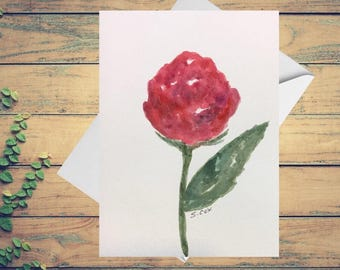 Red Rose card, Hand painted card, Red Botanical Watercolor greeting card, Love card, Original watercolor floral, small painting