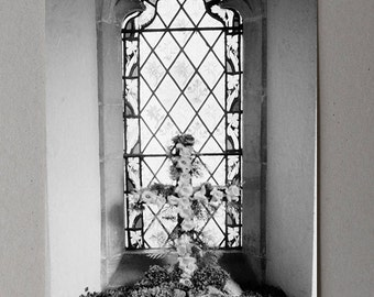 Easter Cross In Front Of A Stained Glass Window In An English Church, Black and White Photography, Monochrome Print, Easter Photography, UK