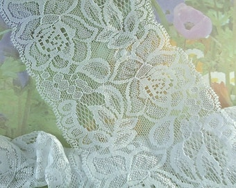 1yd Elastic Lace Trim White 3 1/2 inches wide diy wedding Stretch Lace Headbands Floral Design Flower Elastic Lace by the yard